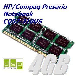 4GB Speicher / RAM für HP/Compaq Presario Notebook CQ57-310US -