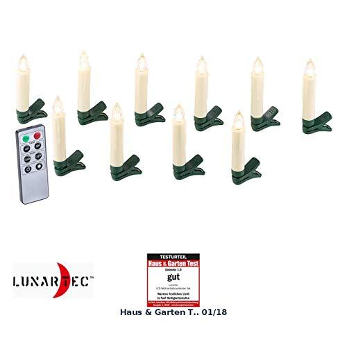 Lunartec Baumkerzen: 10er-Set LED-Weihnachtsbaum-Kerzen mit IR-Fernbedienung, weiß (Weihnachtsbaumbeleuchtung)