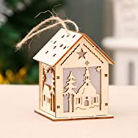 gjghfdhgjgu Año Nuevo Navidad DIY Luminous Cabin Innovadora Navidad Casa de Nieve con Colores claros Decoración