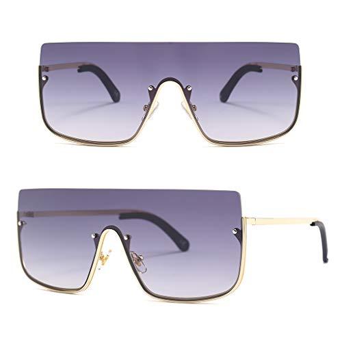 CADANIA Einteilige Sonnenbrille Flat Top Frauen Dame Männer Brillen Sonnenbrille Outdoor Reise Dekoration Driving Party Persönlichkeit Metall Charme 1#