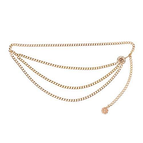iiniim Damen Gürtel Vintage Metall Quaste Kette Gürtel mit Münze Anhänger Tanzkostüm Accessoires Gold Einheitsgröße -
