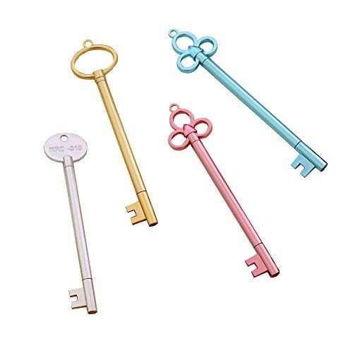 Gespout 4PCS Stylo gel Forme de clé d'or Différentes couleurs Boîtier en plastique La clé du trésor 15cm