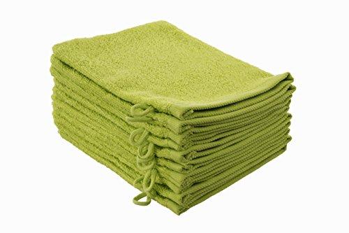 ZOLLNER® 10er Set Waschlappen / Waschhandschuhe / Babywaschlappen 16x21 cm aus 100% Baumwolle, apfelgrün, in weiteren Farben und Größen erhältlich, vom Hotelwäschespezialisten, Serie Elba II (Waschlappen)