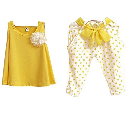 Bonjouree Enfant Filles Gilet t-shirt +Pantalons Shorts Vêtements décontractés (3 ans, Jaune)
