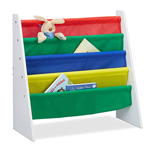Relaxdays Bücherregal für Kinder, Aufbewahrungsregal, Spielzeugregal, aus MDF+Polyester, mit 4 Stofffächern, Mehrfarbig
