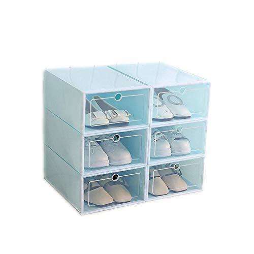 Azsunnyshow Schuh-Organizer, Schublade aus transparentem Kunststoff, rechteckig, Polypropylen, verdickt, Schuh-Organizer, blau, Large