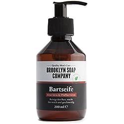 champú y jabón de barba: Beard Wash 250 ml ✔ limpieza y cuidado de la barba - cosméticos naturales de la BROOKLYN SOAP COMPANY ®✔cuidado de barba natural para el hombre moderno y como idea de regalo