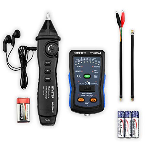 Cable Finder Tone Generator Probe Kit - BTMETER BT-5900A RJ11 RJ45 Wire Tracker Toner Ethernet LAN Network CableTester Telephone Tester Continuity Checker -
