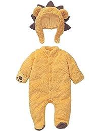 Mamelucos Bebé-Disfraz de León para Bebé Niños Niñas Pelele con Capucha Desmontable Franela Caliente