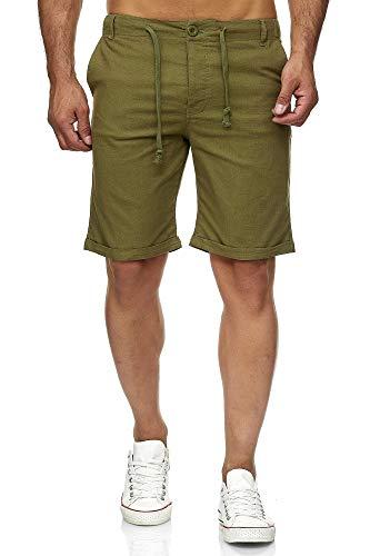 Reslad Leinenhose Kurze Hose Herren Leinen-Shorts lässige Männer Freizeithose Strandhose Stoffhose Sommer-Shorts RS-3002 Khaki 2XL