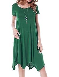 Vestito Asimmetrico Donna Elegante Moda Abito Manica Corta Casual Basic  Vestiti Linea ad A Taglie Comode Abiti… 12b8685da20