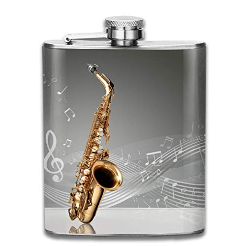 3D Saxophone with Musical Notation Fashion Portable Stainless Steel Hip Flask Whiskey Bottle for Men and Women 7 Oz