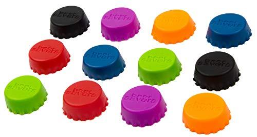 BlueFox 12er Set Silikon-Kronkorken, Beer Saver, Bier-Kapseln, Flaschenverschluss, für Glasflaschen, Caps, Wein- und Saftflasche, Deckel, Verschluss, Markierer, Stöpsel, Deckel, Farbe: Bunt