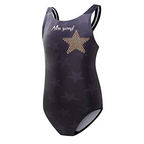 Kinder Mädchen Schwimmanzug Badenmode Badeanzug Einteiler one Piece (eine oder Zwei Größe großer) (Großer Stern, 150cm)