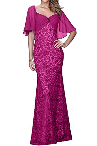 Promgirl House Damen 2016 Elegant Mermaid Spitze Cocktail Party Ball Abendkleider Lang mit Aermel Pink