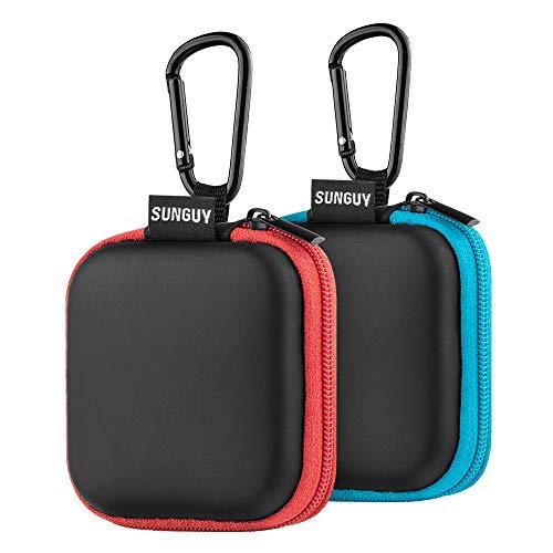 Estuche portátil para audífonos, SUNGUY [Paquete de 2] Estuche rígido de EVA portátil de Forma pequeña y portátil para Auricular, audífonos, audífonos Bluetooth y más (Azul + Rojo)
