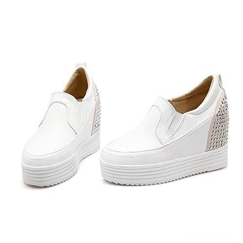 AgooLar Femme à Talon Haut Matière Souple Mosaïque Tire Rond Chaussures Légeres Blanc