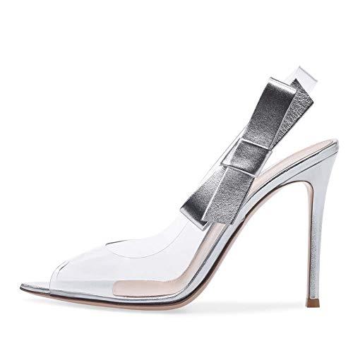 XLY Frauen offen Spitze Zehe klar PVC Stiletto Slide Sandalen Pantoletten, Slingback High Heel Hochzeit Party Pumps,Silver,40