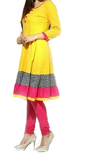 Kurti (Vipul Women's Branded Yellow & Pink Casual Wear Printed Cotton Kurti (Best Gift For Mummy Mom Wife Girl Friend, Offers and Sale Discount)  available at amazon for Rs.187