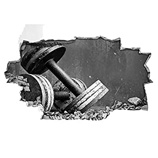 H411 Dumbells Gym Black and White Smashed Wall Decal 3D Art Stickers Vinyl RoomKids Bedroom Baby Nursery Cool Livingroom Hall Boys Girls (Large (90x52cm))
