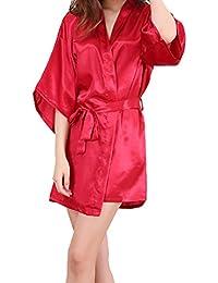 bb10f32a25 Sidiou Group Vestido Pijama Mujer Kimono Corto Bata de Satén Lencería Kimono  del Cordón Satén Bata Albornoz…