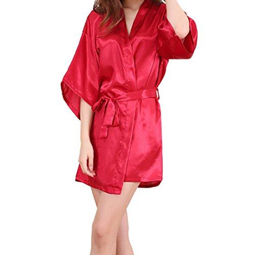 Sidiou Group Nacht Robe Damen Kimono Morgenmantel Satin Kimono Robe Kurz Bademantel Frauen Schlafanzug Nachtwäsche Satin Nachthemd (L, Style 2-Rot)