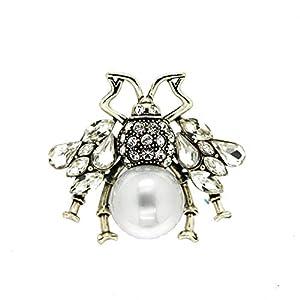 Sweet Deluxe Brosche Spider Big, antiksilber/Crystal/Perle I ausgefallene Blusenbrosche für Damen & Mädchen I Frauen-Brosche für Abendkleid & Bluse I Anstecknadel