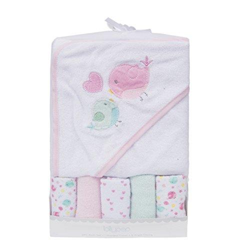 ataya Baby Badetuch mit Kapuze Waschlappen Set, Lovely Tier-Stickerei Muster, 5 + 1 Geschenk Pack (twit bird) (Tier-waschlappen)