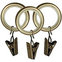 10 Stück Gardinenringe mit Klammer für Stangen 25mm Metall Vorhangringe Messing - mit Gleiteinlage