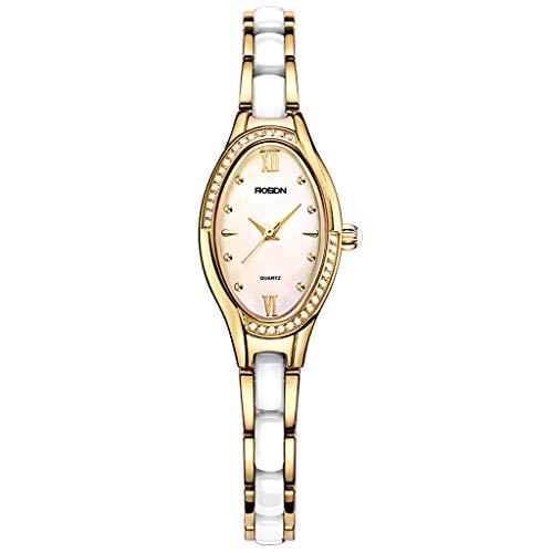 Dame Keramik Quarz Armbanduhr Kristall Armband, Blume Shell Oval Frauen Uhren Gesicht Perle Uhrenarmband, Umschlagverschluss, Freund Geschenk (Farbe : Gold)