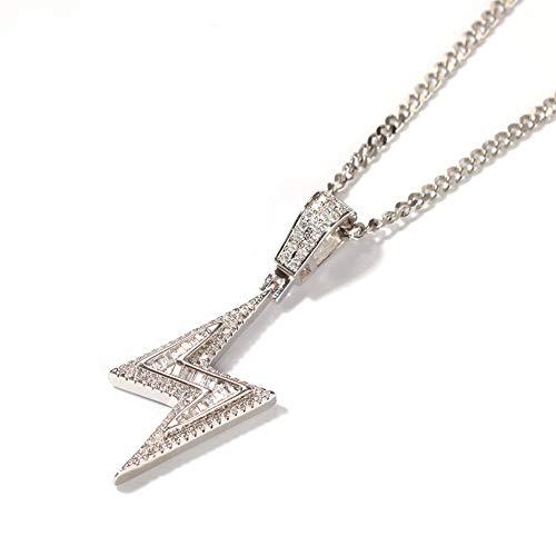 Männer Hip Hop Tennis Kette Magie Schutz Blitz Narbe Anhänger Halsketten Iced Out Bling Zirkonia - Kostüm Diamant Halskette