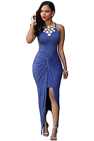 Bling-Bling Womens Sexy Fashion Blue Knotted Slit Dress Size L