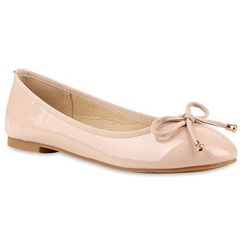Damen Ballerinas Slipper Slip Ons Absatz in mehreren Farben 36 -41 Nude Hochglanz