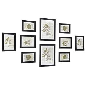 SONGMICS Bilderrahmen, 10-er Set Fotorahmen – 2 Stk. 20 x 25 cm, 4 Stk. 13 x 18 cm und 4 Stk. 10 x 15 cm, aus Holzfaserplatten, schwarz RPF310H