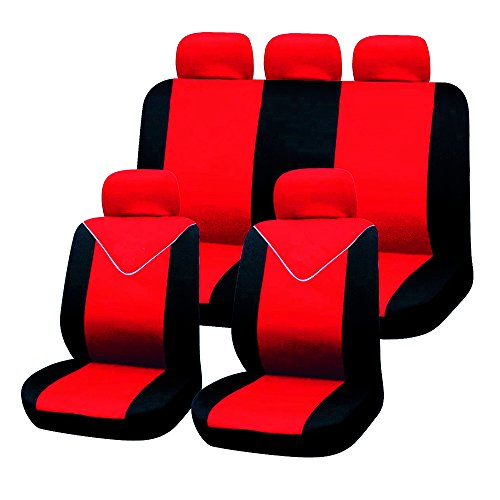Filmer 37250 Autositzbezüge-Set, 11tlg., rot-schwarz