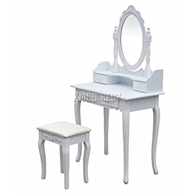 FoxHunter Vanity Makeup Dressing Table Set With Stool 4 Drawer Mirror Jewelry Desk Console White Wood Bedroom Furniture DT02 - cheap UK light store.