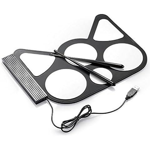 Neewer® Kit di Batteria Digitale Elettronica Pieghevole con Interfaccia Soft USB PC 6 Pads e Bacchette per Suonare o Divertirsi
