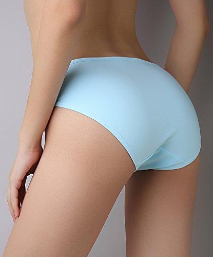 SHEKINI Damen Slips Panties Biobaumwolle Weich Unterwäsche Bequem Höschen Unterhosen Taillenslip 4er Paket Farbe C (Weiß Schwarz Gelb Blau)