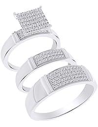 Juego de anillos de boda (0,50 ct) con corte redondo de diamante