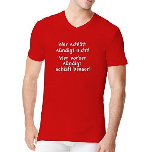 Fun Sprüche Männer V-Neck Shirt - Wer schläft, sündigt nicht by Im-Shirt Rot