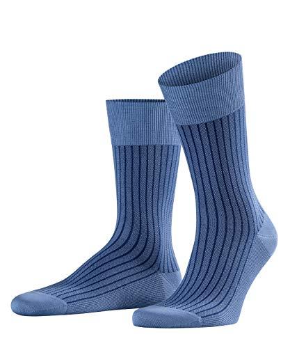 FALKE Herren Business Socken Oxford Stripe Baumwolle Strümpfe Gestreift 1 Paar, Blau (Dusty Blue 6845), 45/46 (Herstellergröße: 45-46) (Blue-stripe-socken)