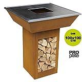 YERD Design Holzkohle-Grill Feuerplatte echter Cortenstahl AHOME (Pro - mit Fettrille, 100x100cm)