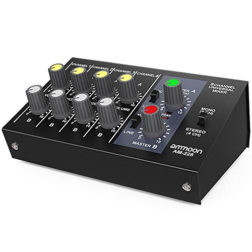 ammoon AM-228 Sound Mixer Ultra Kompakte Low Noise 8 Kanäle Metall Mono Stereo Audio Sound Mixer mit Netzteilkabel