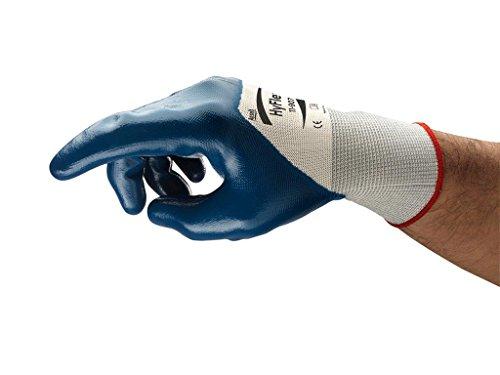 Ansell HyFlex 11-907 Öl abweisende Handschuhe, Mechanikschutz, Blau, Größe 10 (12 Paar pro Beutel) -