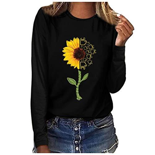 ➤Refill➤Damen Langarmshirt T-Shirt,Rundhals Fun-T-Shirts Tunika Oberseiten-Bluse Ausschnitt Lose Hemd Pullover Oversize Sweatshirt Oberteil Tops Tees