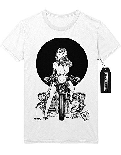 T-Shirt Bikergirl Motorrad H549333 Weiß