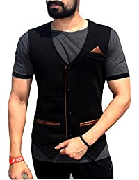 Seven Rocks Men's Waistcoat with Leather Detailing