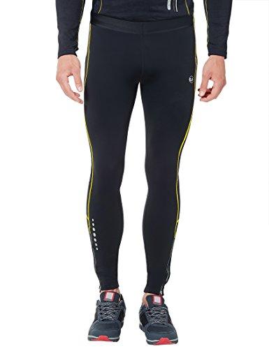 Ultrasport Pantaloni Jogging per Uomo Thermo-Dynamic Imbottiti con Funzione Quick Dry, Nero/Giallo, XL