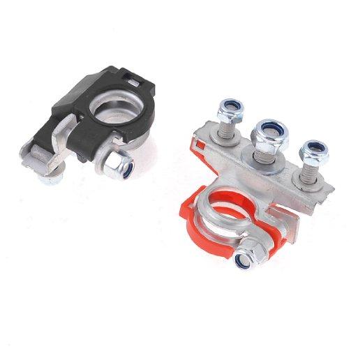 Preisvergleich Produktbild sourcingmap® 2 Stücke schwarz rot Metall 90 Grad Batterie Polklemmen Terminal Clamp Klemmen