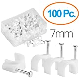 MutecPower 7mm Chiodini fermacavo/cavo clips in Bianco - 100 Pack